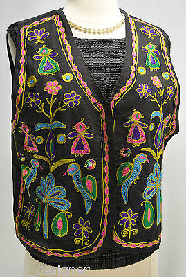 VTG Silver Stream embroidered tribal colorful vest top geo chic open front SZ  L