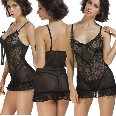 Babydoll pizzo floreale sexy lingerie intimo da notte donna chemise nuovo DS2606