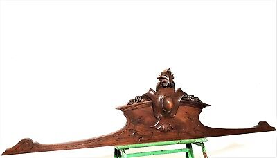 "Coat Of Arms Pediment 43"" Antique French Hand Carved Wood Architectural Salvage"