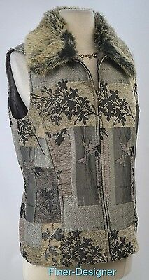 COLDWATER CREEK CWC zip Vest top sleeveless tapestry remove faux fur collar M