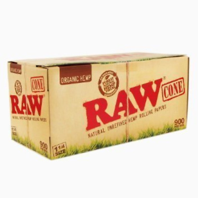 Organic 1 1/4 Pure Hemp Pre-Rolled Cones With Filter 900 Pack by RaW