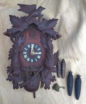 Vintage Hubert Herr Black Forest Cuckoo Clock Good For Parts/Repair