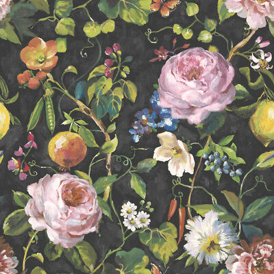 Miracle Black & Multi Floral & Fruit Botanical Wallpaper - 10m Roll - NEW DESIGN