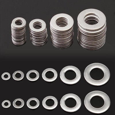 105pcs Stainless Steel Washers Silver Metric Flat Washer Kit M3 M4 M5 M6 M8 M10