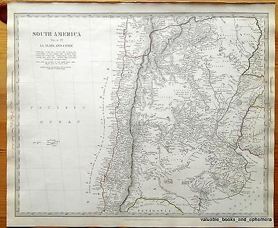 Antique Map South America 1840 Patagonia Pacific Chile Bolivia Argentina