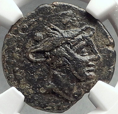 Roman Republic ANONYMOUS Sextans 211BC Hannibal Time Coin MERCURY NGC  i68542