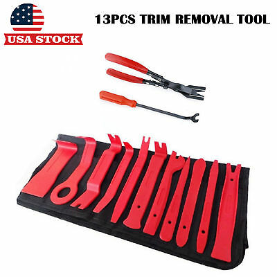 13pc Trim Removal Pry Bar Tool Kit Car Audio Panel Door Clip Open Remover