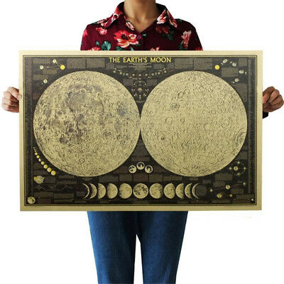 Vintage Retro Paper Earth Moon World Map Poster Home Decoration Wall Sticker New