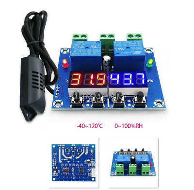 DC 12V Dual Digital LED Temperature & Humidity Control Thermostat +Probe