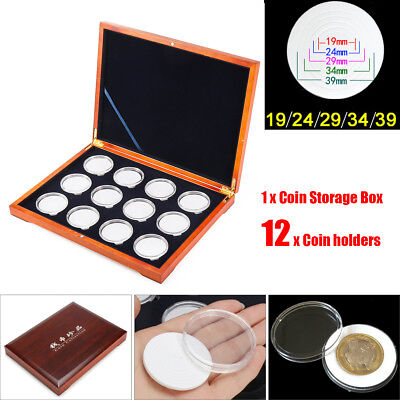 Oak Coin Wood Case Display Box Wooden Storage Holders for 12 Coins NGC PCGS
