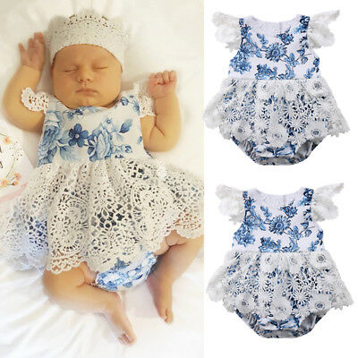 Boutique Newborn Baby Girl Romper Lace Floral Jumpsuit Outfit Summer Clothes USA