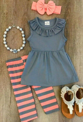 Boutique Kids Baby Girls Striped Tops Dress Pants Leggings Outfits Clothes USA