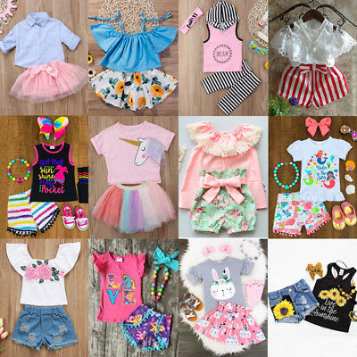 US Boutique Kids Baby Girls Unicorn Flowers Top Skirt Short Pants Outfit Clothes