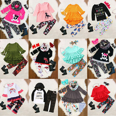 Boutique Kids Baby Girl Floral Unicorn Top T-shirt Dress Legging Pant Outfits US