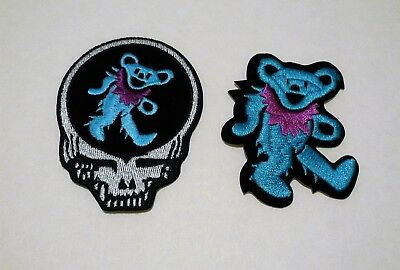 [SET]Grateful Dead PATCH / Steal Your Face Dancing Bear BLUE , Biker, Rock, Pot
