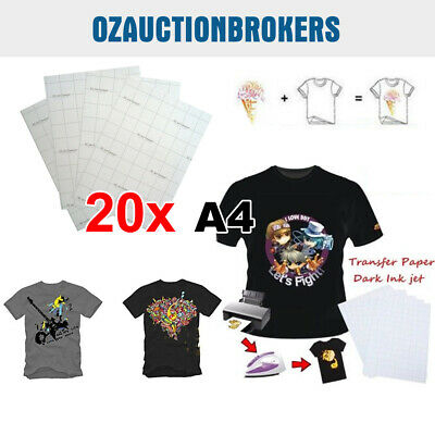 New 20 Sheets A4 Iron Heat Transfer Paper For The Dark Cotton T-shirt