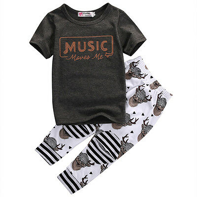 US Toddler Kids Baby Boy Girl Short Sleeve Clothes Tops T-shirt + Pants 2Pcs Set