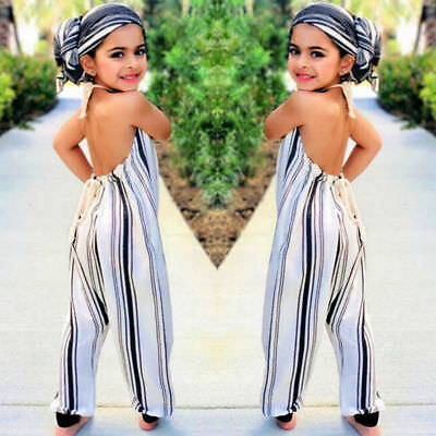 Stripe Toddler Kids Baby Girls Strap Overall Summer Romper Jumpsuit Outfit 0-5Y