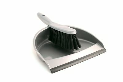 Dustpan and Soft Brush Set Plastic Silver Hand Dust Pan Household Cleaning