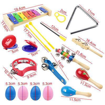 New 15pc Percussion Set Wooden Kids Children Toddlers Music Instruments Toys Kit