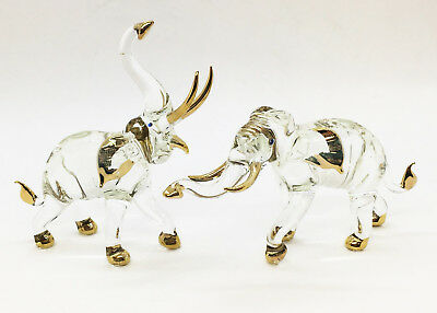 Elephant Blown Glass Art gift Figurine Animal Set Hand Blowing Decor Collectible