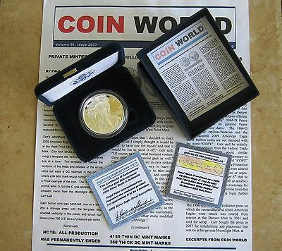 2009 Proof *thick Dc* Silver Eagle - 1 Of Only 368 Worldwide Proofed Overstrikes