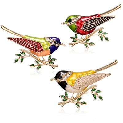 Colorful Animal Birds Crystal Rhinestone Brooch Pin Women Costume Jewellery Gift