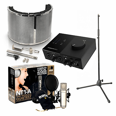 Rode NT1-A Home Studio Recording Pack with Mackie Onyx 2.2, Vocal Booth & Stand
