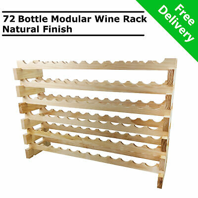 Modular Stackable Wooden 72 Bottle Wine Rack Timber Cellar Storage Stand Wood