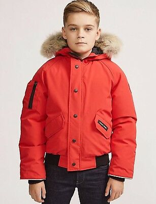 Canada Goose Rundle Bomber Red Jacket Coyote Fur Big Kid Size XL Youth 18