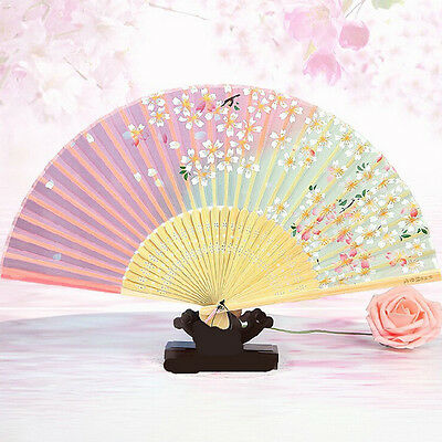 Retro Classical Chinese Fan Folding Bamboo Flower Pattern Lace Hand Fan Decor ES