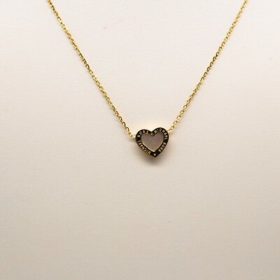 Michael Kors Mother of Pearl Gold Tone Logo Heart Pendant Necklace