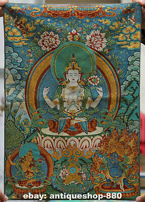 "24"" Tibet Tibetan Cloth Silk Lotus 4 Arms Kwan-yin Tangka Thangka Painting Mural"