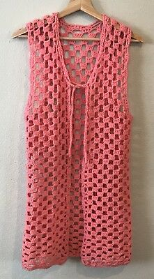 Vintage Hand Crochet Knit Womens S Sweater Vest Pink Long Boho Mod