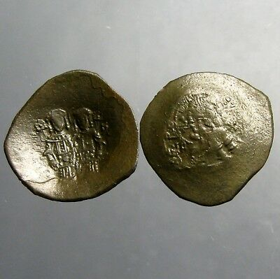 ALEXIUS III ANGELUS ASPRON TRACHY__1195 AD___Bust of Christ Facing & Constantine