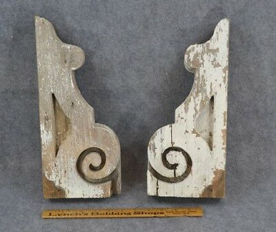 antique corbels brackets white chippy paint wood carve Victorian 1800 pair 14 in
