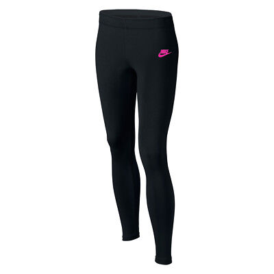 New Nike Junior Club Logo  Gym Sports Workout Fitted Leggings -Black / Hot Pink