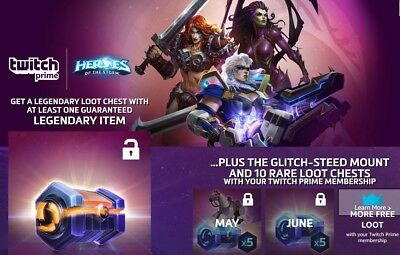 HEROES OF THE STORM Twitch Prime Loot Legendary Loot Chest + Mount + More  Chests