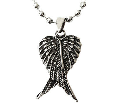 ANGEL WINGS ANTIQUE PEWTER PENDANT WITH BALL CHAIN/Goth/Celtic/Tribal/Necklace