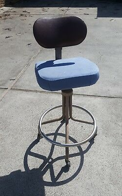 Vintage INDUSTRIAL DRAFTING STOOL  chair factory swivel Welsh Metal products