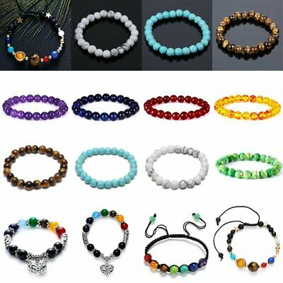 Women Men 7 Chakra Healing Beaded Natural Lava Stone Heart Bracelet Jewelry Gift