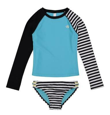 Skechers Big Girls L/S Black & Blue Rashguard Swim Set Size 7 8 10 12 14 16