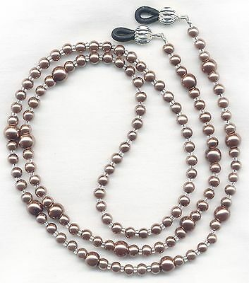 Chocolate Brown Glass PEARLS Beaded Eyeglass~Glasses Necklace Holder Leash Chain