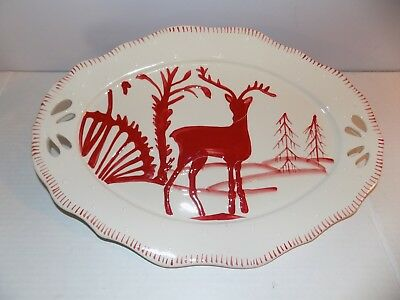 "Heather Goldminc Blue Sky 16"" Red Reindeer Platter Plate 16 x 10.5"