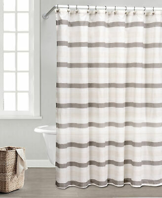 Taupe Ivory And Beige Fabric Shower Curtain Natural Linen Blend