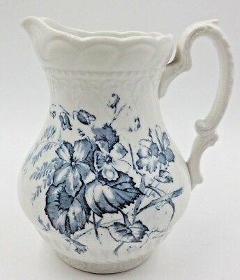 Antique Roseberry Colonial Pottery Tove England Blue And White Pitcher ~ 6.5""