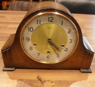 Lovely 1960's Smiths Oak cased Westminster Chiming Mantel Clock