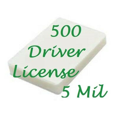 500 Driver License Size 5 Mil Laminating Pouches Laminator Sheets 2-1/8 x 3-3/8