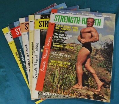 6 Issues of Strength & Health 1961 Physical Fitness Magazine Bodybuilding