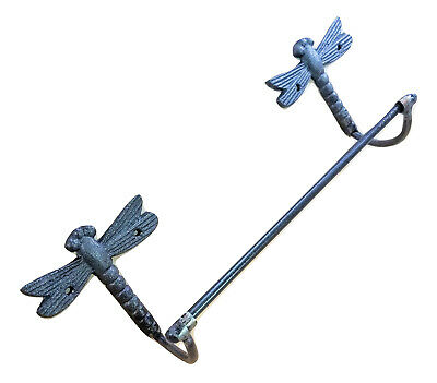 "Cast Iron Dragonfly 24"" towel bar rack holder wall mount bathroom kitchen"